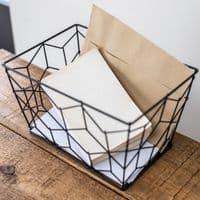 Black Metal Storage Basket | Home Accessories